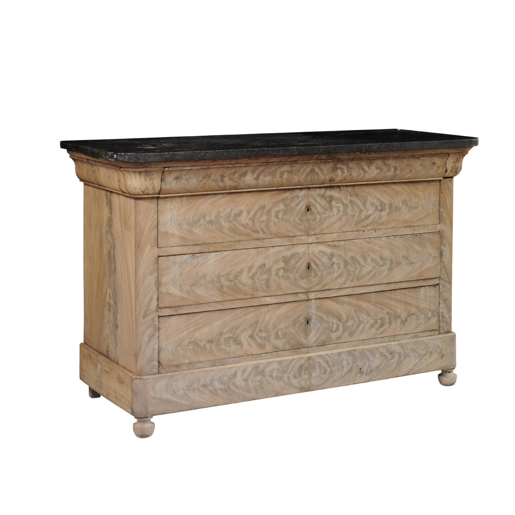 Stripped Louis Philippe Commode with Black Marble