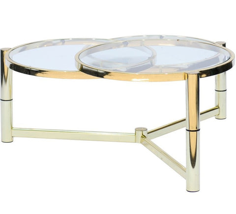 Mid-Century Italian Brass and Glass Coffee Table with Rotating Circles