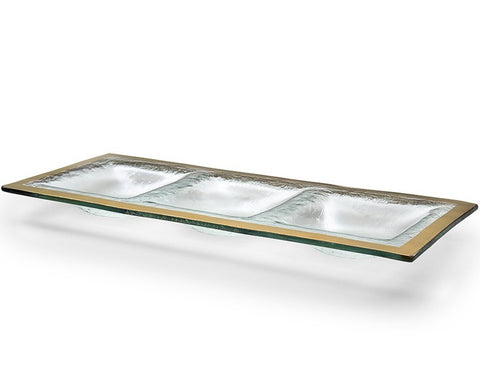 Annieglass Roman Antique Three-Section Tray