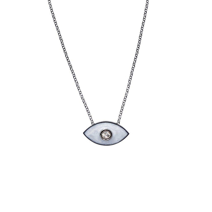 Enamel Evil Eye Necklace White