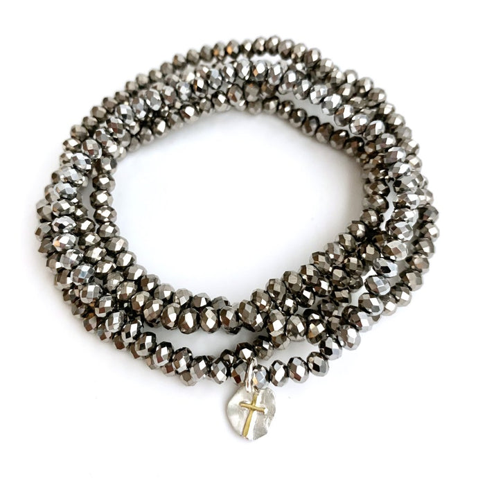 Erin Gray Design 5-Stack Bracelet in Gray with Tiny Cross