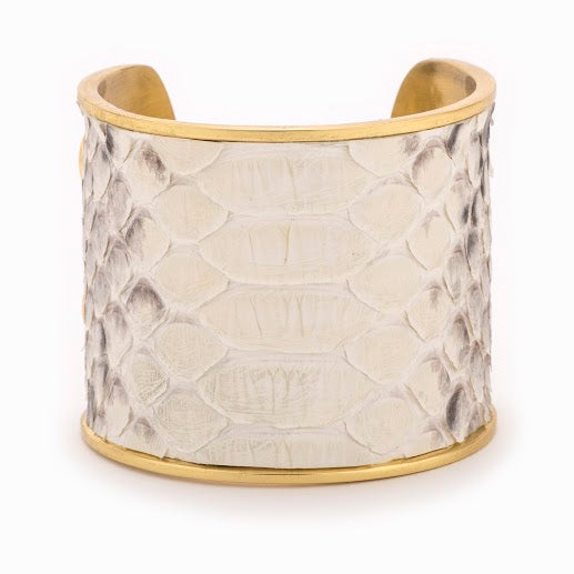 Taylor and Tessier White and Black Python and Gold Cuff