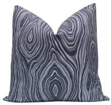 Load image into Gallery viewer, Navy Blue Agate Linen Pillow