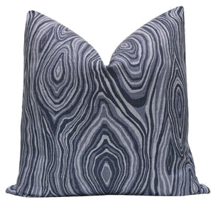 Navy Blue Agate Linen Pillow