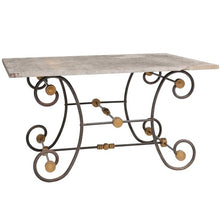 Load image into Gallery viewer, Iron and Brass Butcher Table with Slate Top