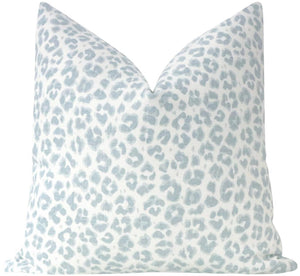 Spa Blue Cougar Linen Pillow