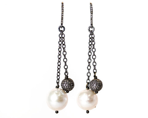 Cindy Ensor Pearl and Pave Diamond Earrings