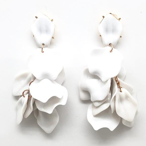 Shiver and Duke Pedal Earrings in White