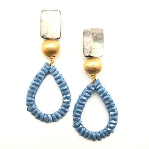 Shiver and Duke Crystal Teardrop Earrings in Blue