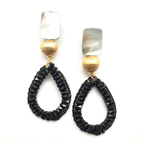 Shiver and Duke Crystal Teardrop Earrings in Black