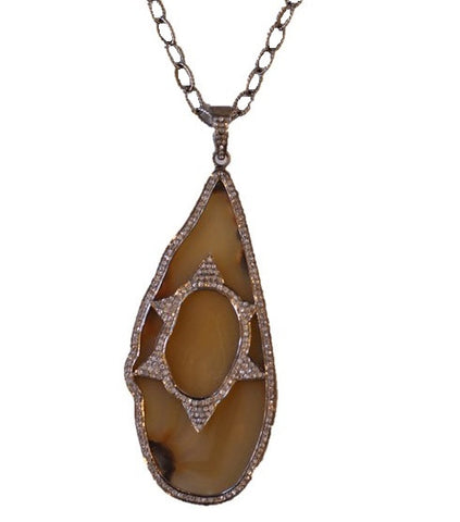 KZ Noel Diamond Agate Necklace