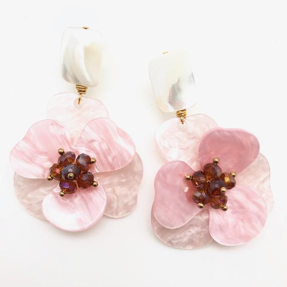 Shiver and Duke Molly Earrings in Pink