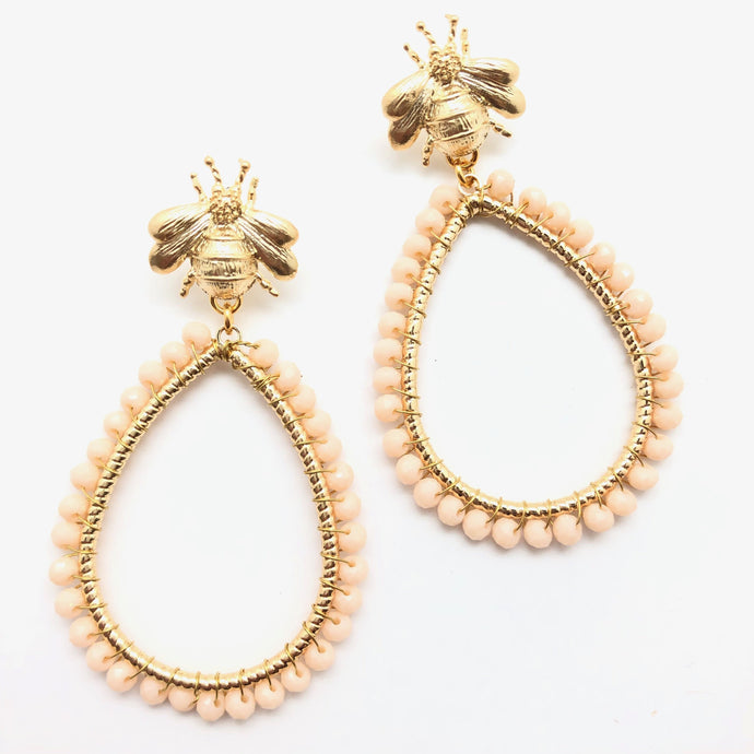 Shiver and Duke Bee Drop Earrings in Cream