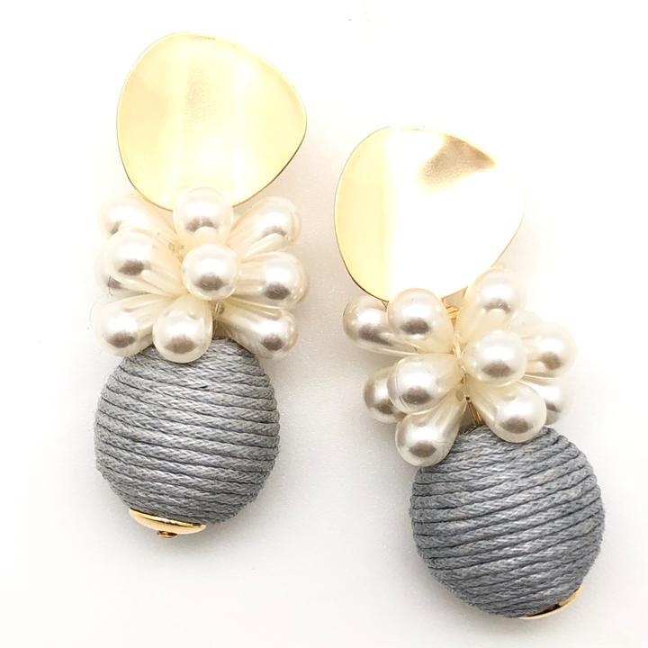 Shiver and Duke Blossom Earrings in Grey