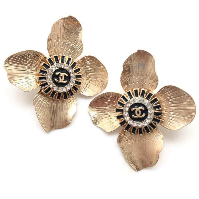 Shiver and Duke Designer Flower Stud Earrings