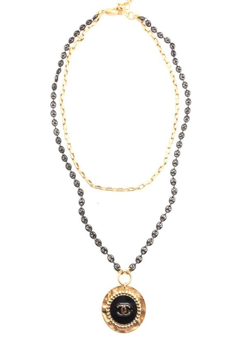 Shiver and Duke Mixed Layered Chain Designer Necklace in Black