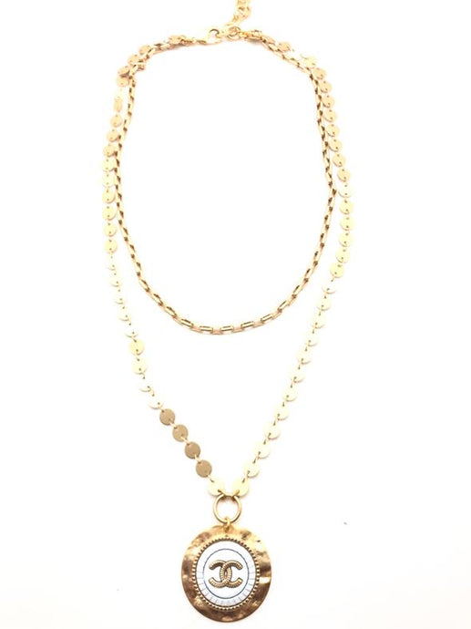 Shiver and Duke Layered Chain Designer Necklace in White