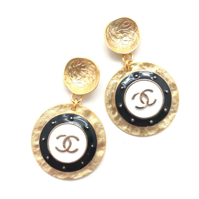 Shiver and Duke Designer Gold Drop Earrings in Mixed