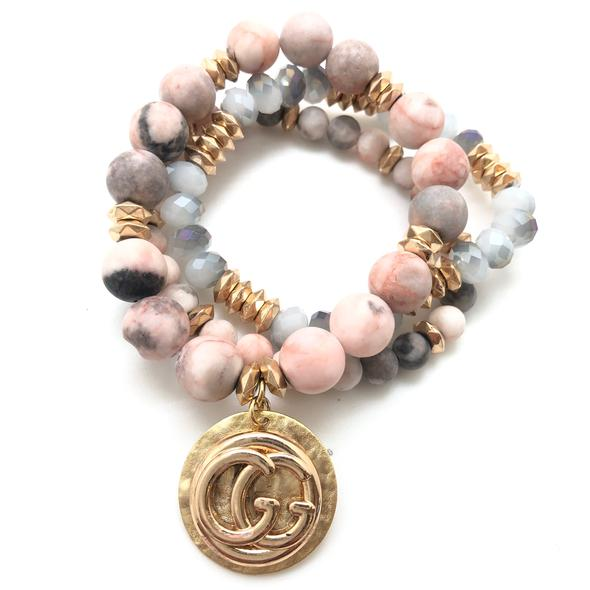Shiver and Duke Designer Stackable Bracelet in Blush