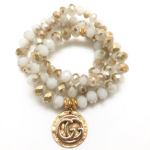 Shiver and Duke Designer Stackable Bracelet in Cream