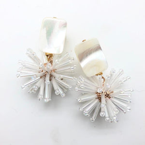 Shiver and Duke Celeste Earrings in White