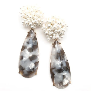 Shiver and Duke Pearl Stone Earrings in Grey