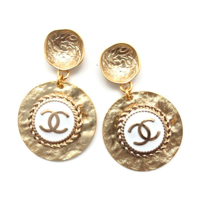 Shiver and Duke Designer Gold Drop Earrings in White