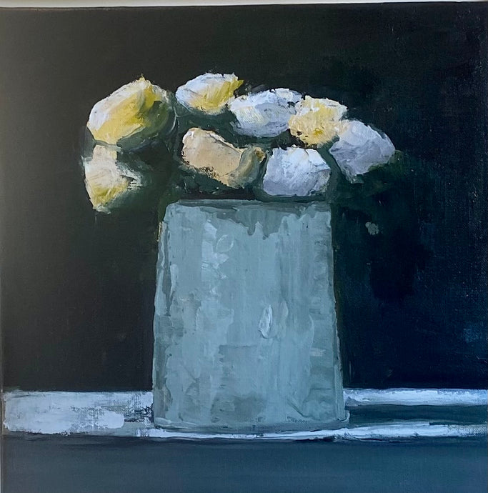 Anne Harney - Mums in Gray Vase