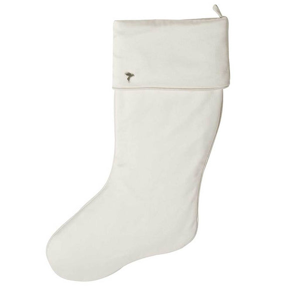 Fig & Dove Ivory Velvet Stocking with Cuff