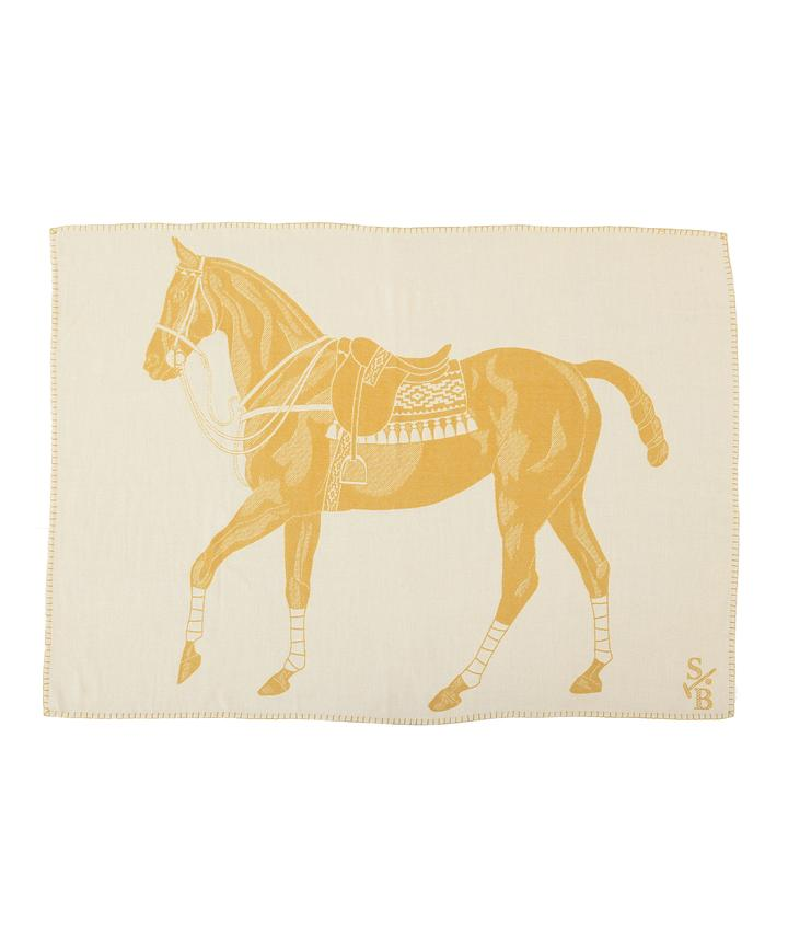 Stick & Ball Gold Polo Pony Throw