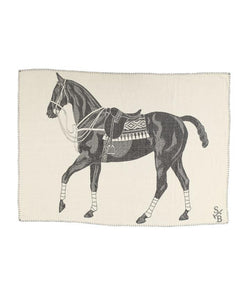 Stick & Ball Charcoal Polo Pony Throw