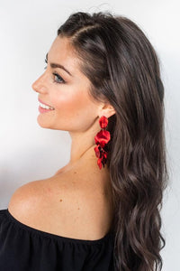 Shiver and Duke Pedal Earrings in Red
