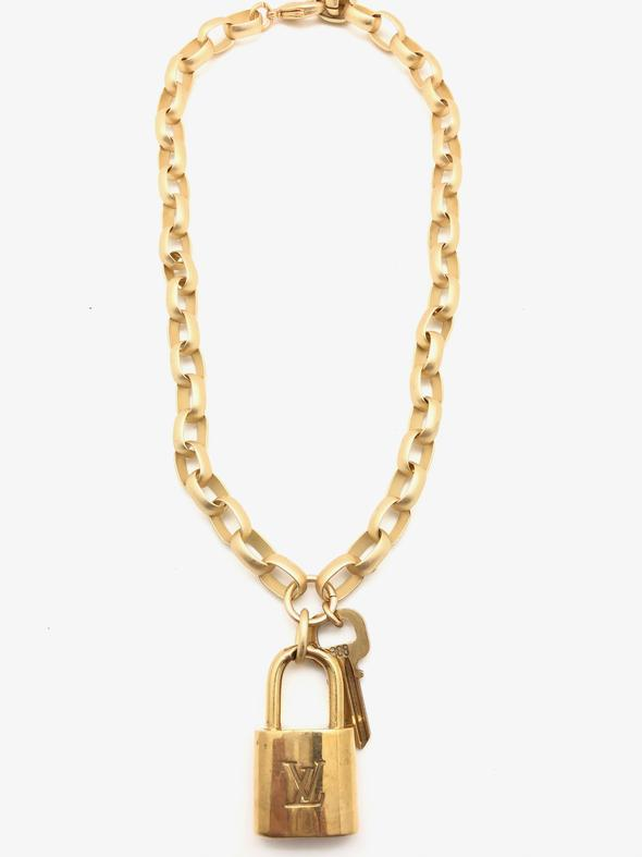 Shiver and Duke Designer Lock Pad Necklace