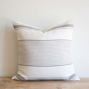 Grey Linen Stripe Pillow
