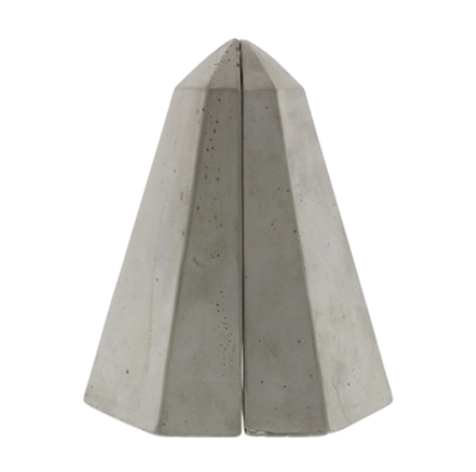 Geometric Cement Obelisk Bookends