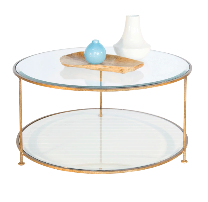 Gold Leaf Round Coffee Table