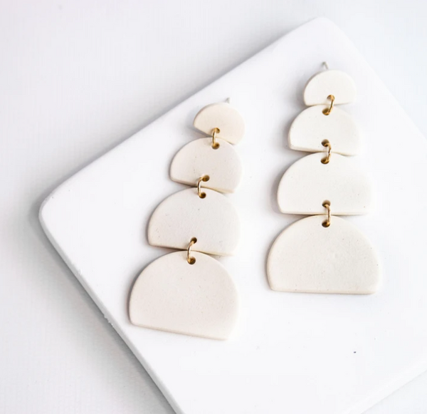 Susan Gordon Pottery Cream Saint Earrings