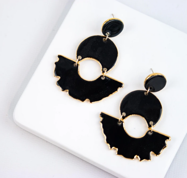 Susan Gordon Pottery Black Swan Earrings