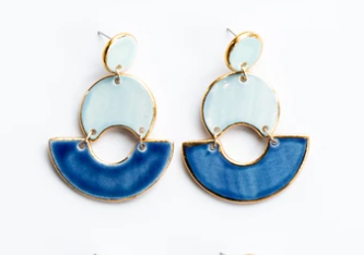 Susan Gordon Pottery Blue Ombre Swan Earrings