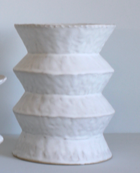 Double Zig Zag Vase in White