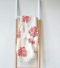 Load image into Gallery viewer, Natural Wood Block Print Fouta in Coral