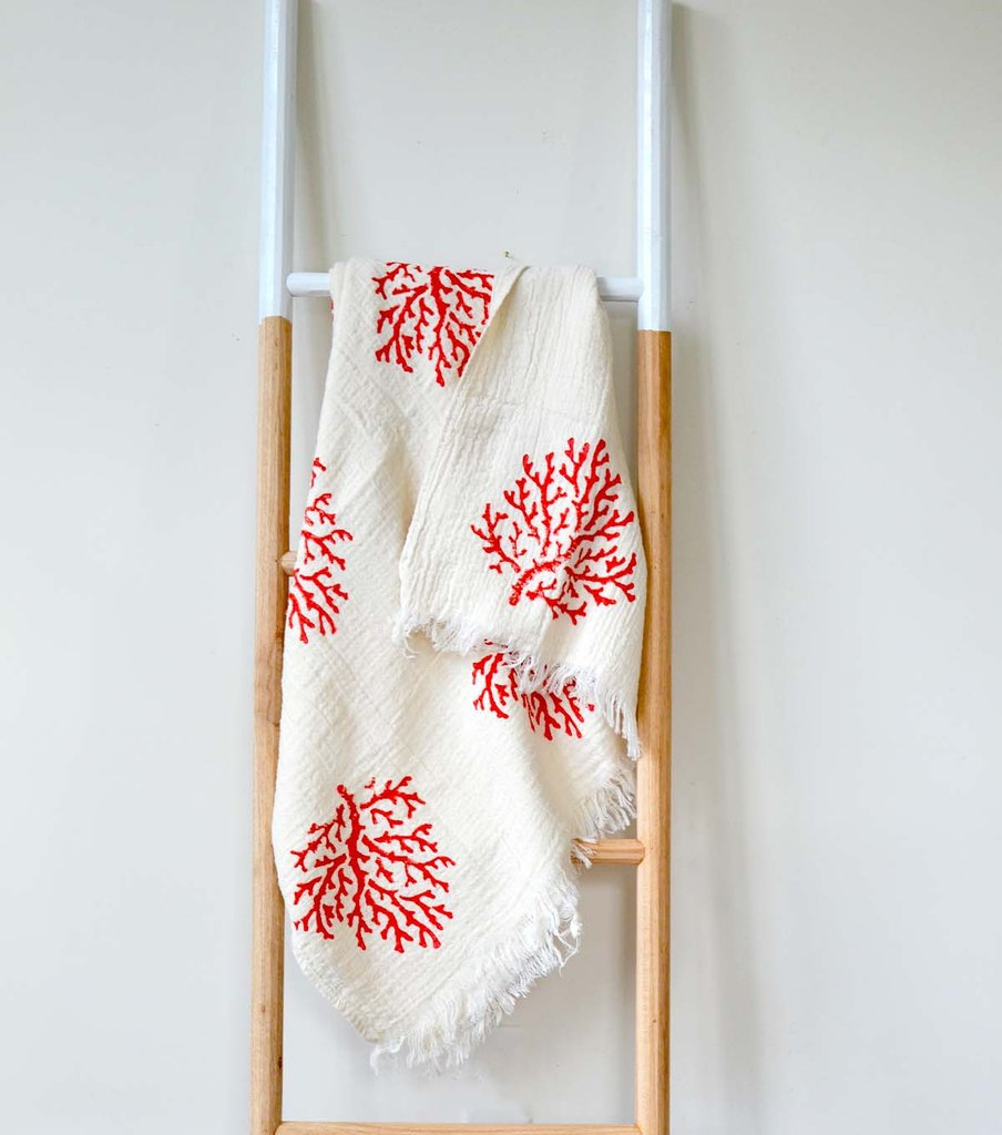 Natural Wood Block Print Fouta in Coral