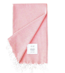 Original Hand-Loomed Towel in Coral