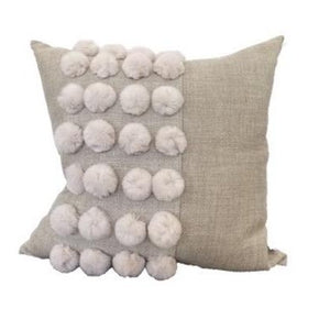 Penelope Natural Linen Pillow with Pompoms