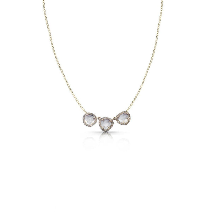 14K Yellow Gold 3 Raw Sliced Diamond Necklace