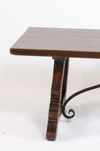 Load image into Gallery viewer, Early 20th Century Oak Table with Solid Carved Legs and Iron Trestle