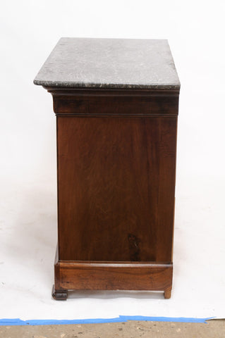 Dark Burled Walnut Louis Philippe Commode with Marble Top