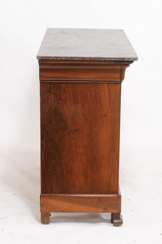 Burled Walnut Louis Philippe Commode with Marble Top