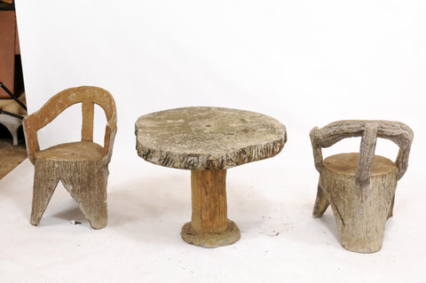 Set of Faux Bois Armchairs and Table