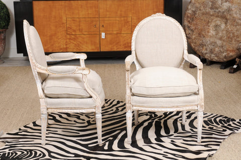 Pair of Louis XVI Carved Armchairs with Linen Upholstery